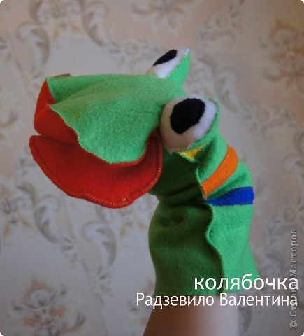 Игрушка, Мастер-класс Шитьё: Лягушка на руку + МК. Ткань. Фото 2