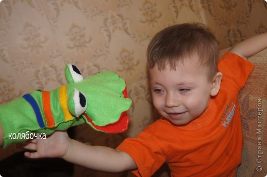 Игрушка, Мастер-класс Шитьё: Лягушка на руку + МК. Ткань. Фото 3