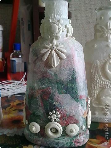 Декор предметов, Оберег, Поделка, изделие Лепка, Плетение, Роспись: Бутылки в стиле Трипольской и Скифской культур Бутылки стеклянные, Глина, Гуашь, Клей, Краска, Поролон Дебют, Отдых. Фото 6