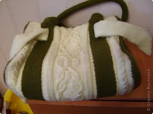 Гардероб Вязание спицами: Мастер-класс сумка с аранами Пряжа.  Фото 4.