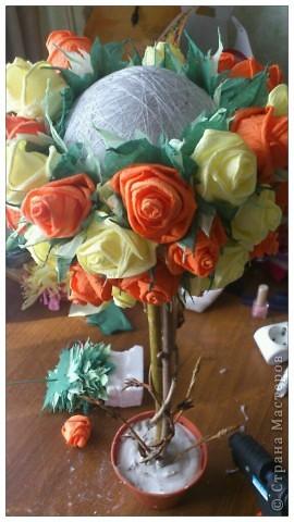 Мастер-класс, Поделка, изделие Бумагопластика, Моделирование, Оригами: МК часть2 Деревце из роз Клей, Материал природный, Салфетки. Фото 4