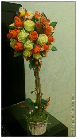 Мастер-класс, Поделка, изделие Бумагопластика, Моделирование, Оригами: МК часть2 Деревце из роз Клей, Материал природный, Салфетки. Фото 13