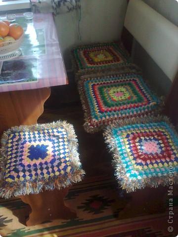 Интерьер Вязание крючком: кружки на стулья Пряжа День семьи. Фото 3
