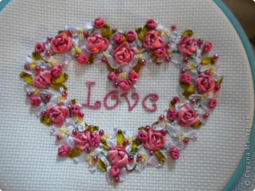 Мастер-класс Вышивка: Вышивка лентами сердечка Ленты Отдых. Фото 1