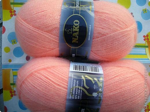 Гардероб Вязание, Вязание крючком: Персиковая шаль. Пряжа. Фото 9