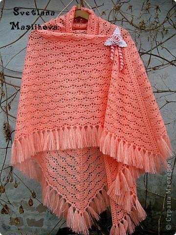 Гардероб Вязание, Вязание крючком: Персиковая шаль. Пряжа. Фото 2