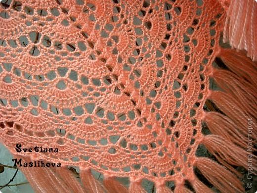 крючком: Персиковая шаль.
