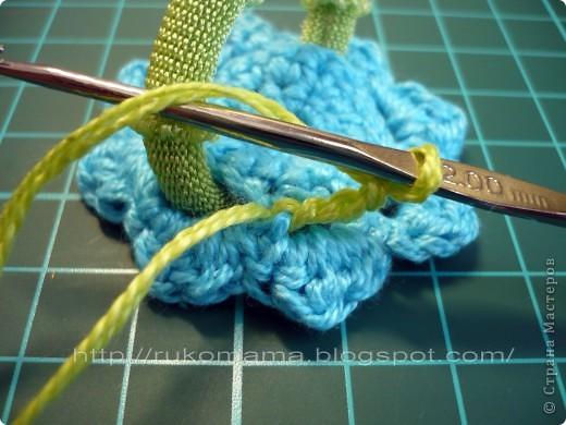 Мастер-класс, Украшение Вязание крючком: Вязаная резинка для волос  МК Пряжа. Фото 6