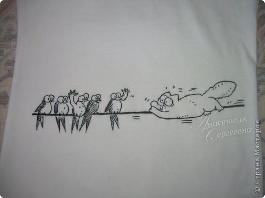 """Гардероб: Рисунок на майке  """"Кот Саймона """" в подарок День рождения."""
