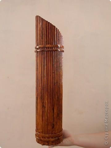 Мастер-класс, Поделка, изделие Плетение: Бамбуковая ваза из газетных трубок Бумага газетная. Фото 1