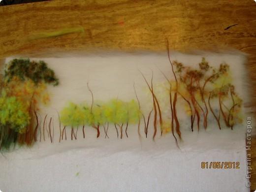 """Картина, панно, Мастер-класс Валяние (фильцевание): Картина из шерсти """"Осень в парке"""" Шерсть. Фото 8"""