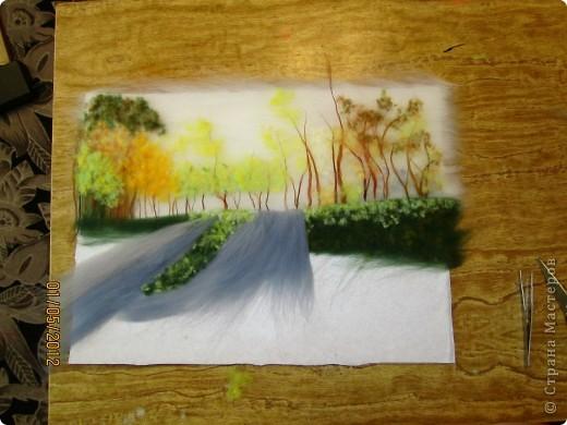 """Картина, панно, Мастер-класс Валяние (фильцевание): Картина из шерсти """"Осень в парке"""" Шерсть. Фото 9"""
