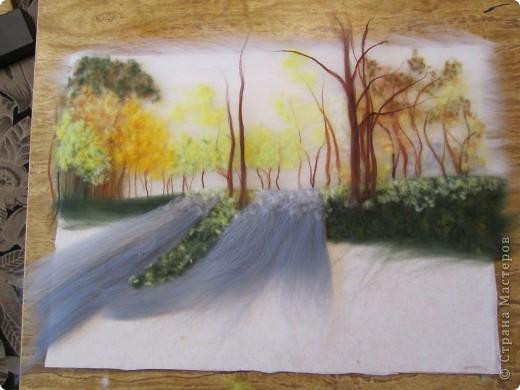 """Картина, панно, Мастер-класс Валяние (фильцевание): Картина из шерсти """"Осень в парке"""" Шерсть. Фото 10"""