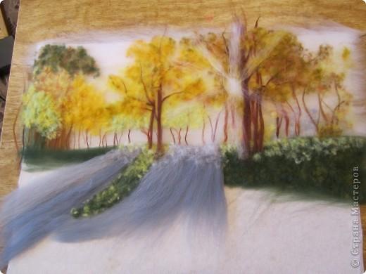 """Картина, панно, Мастер-класс Валяние (фильцевание): Картина из шерсти """"Осень в парке"""" Шерсть. Фото 11"""