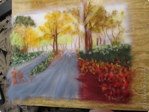 """Картина, панно, Мастер-класс Валяние (фильцевание): Картина из шерсти """"Осень в парке"""" Шерсть. Фото 12"""