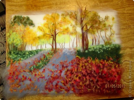 """Картина, панно, Мастер-класс Валяние (фильцевание): Картина из шерсти """"Осень в парке"""" Шерсть. Фото 13"""