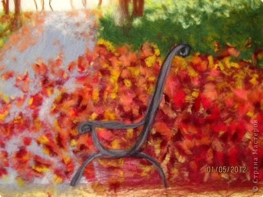 """Картина, панно, Мастер-класс Валяние (фильцевание): Картина из шерсти """"Осень в парке"""" Шерсть. Фото 14"""