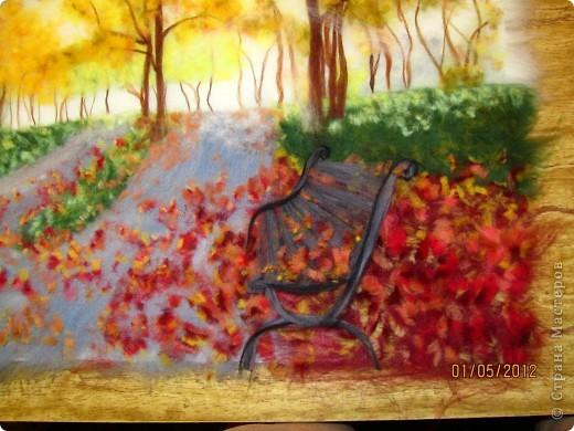 """Картина, панно, Мастер-класс Валяние (фильцевание): Картина из шерсти """"Осень в парке"""" Шерсть. Фото 15"""