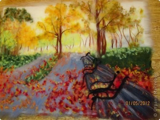 """Картина, панно, Мастер-класс Валяние (фильцевание): Картина из шерсти """"Осень в парке"""" Шерсть. Фото 16"""
