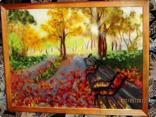"""Картина, панно, Мастер-класс Валяние (фильцевание): Картина из шерсти """"Осень в парке"""" Шерсть. Фото 1"""