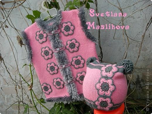 Гардероб Вязание, Вязание крючком: Комплекты с цветочками для девчушек. Пряжа. Фото 1