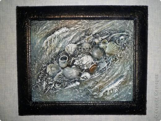 Картина, панно, Мастер-класс Коллаж: Морское дно с креветками. Мини МК Материал природный Дебют. Фото 1