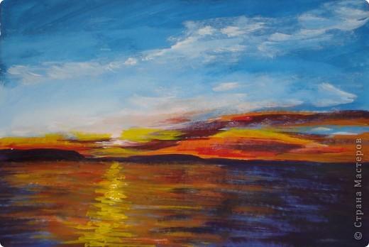 Мастер-класс, Урок рисования Рисование и живопись: Закат. Гуашь. Фото 1