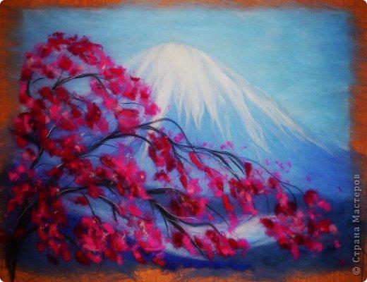 Картина панно рисунок Мастер-класс 8 марта Валяние фильцевание Рисование и живопись Шерстяная живопись Весенний пейзаж Шерсть фото 20