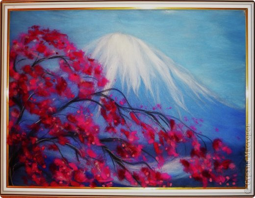 Картина панно рисунок Мастер-класс 8 марта Валяние фильцевание Рисование и живопись Шерстяная живопись Весенний пейзаж Шерсть фото 1