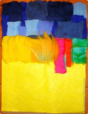 Картина панно рисунок Мастер-класс Валяние фильцевание Пэчворк Рисование и живопись Шерстяная живопись Абстракция в стиле пэчворк Нитки Шерсть фото 3