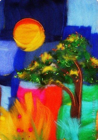 Картина панно рисунок Мастер-класс Валяние фильцевание Пэчворк Рисование и живопись Шерстяная живопись Абстракция в стиле пэчворк Нитки Шерсть фото 11