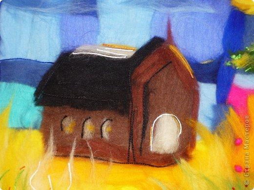 Картина панно рисунок Мастер-класс Валяние фильцевание Пэчворк Рисование и живопись Шерстяная живопись Абстракция в стиле пэчворк Нитки Шерсть фото 12
