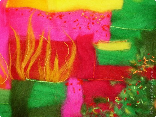 Картина панно рисунок Мастер-класс Валяние фильцевание Пэчворк Рисование и живопись Шерстяная живопись Абстракция в стиле пэчворк Нитки Шерсть фото 13