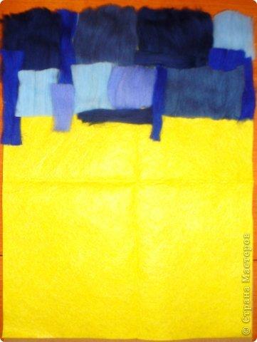 Картина панно рисунок Мастер-класс Валяние фильцевание Пэчворк Рисование и живопись Шерстяная живопись Абстракция в стиле пэчворк Нитки Шерсть фото 2