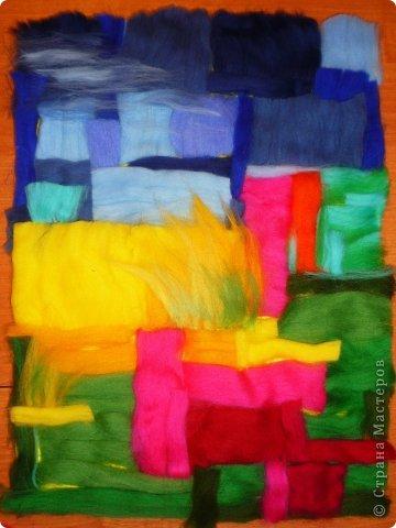 Картина панно рисунок Мастер-класс Валяние фильцевание Пэчворк Рисование и живопись Шерстяная живопись Абстракция в стиле пэчворк Нитки Шерсть фото 4