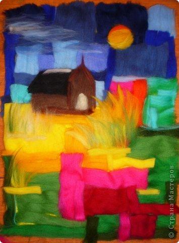 Картина панно рисунок Мастер-класс Валяние фильцевание Пэчворк Рисование и живопись Шерстяная живопись Абстракция в стиле пэчворк Нитки Шерсть фото 5