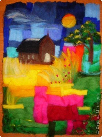 Картина панно рисунок Мастер-класс Валяние фильцевание Пэчворк Рисование и живопись Шерстяная живопись Абстракция в стиле пэчворк Нитки Шерсть фото 6
