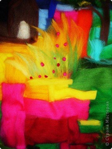 Картина панно рисунок Мастер-класс Валяние фильцевание Пэчворк Рисование и живопись Шерстяная живопись Абстракция в стиле пэчворк Нитки Шерсть фото 7