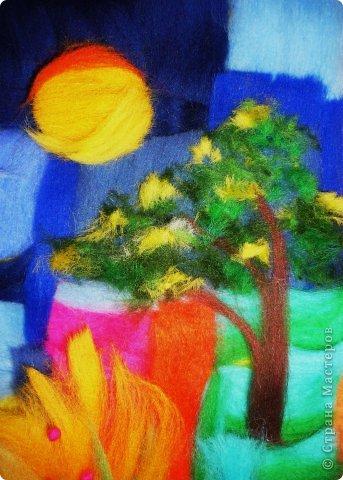 Картина панно рисунок Мастер-класс Валяние фильцевание Пэчворк Рисование и живопись Шерстяная живопись Абстракция в стиле пэчворк Нитки Шерсть фото 8