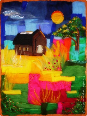Картина панно рисунок Мастер-класс Валяние фильцевание Пэчворк Рисование и живопись Шерстяная живопись Абстракция в стиле пэчворк Нитки Шерсть фото 10