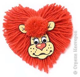 Сердечный лев - аппликация из ниток