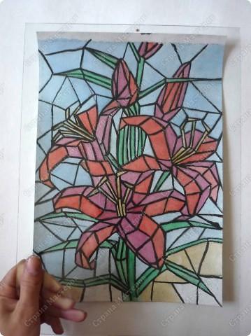 Витраж с лилиями Ропись по стеклу.