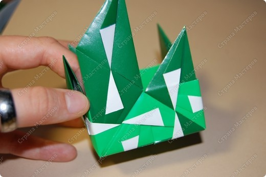 Мастер-класс Оригами: МК ваза оригами. Часть 3.  Бумага. Фото 9
