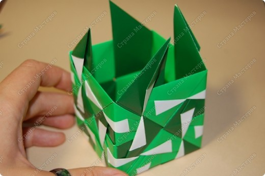 Мастер-класс Оригами: МК ваза оригами. Часть 3.  Бумага. Фото 11