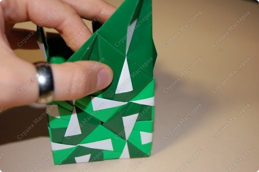Мастер-класс Оригами: МК ваза оригами. Часть 3.  Бумага. Фото 12