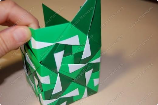 Мастер-класс Оригами: МК ваза оригами. Часть 3.  Бумага. Фото 13