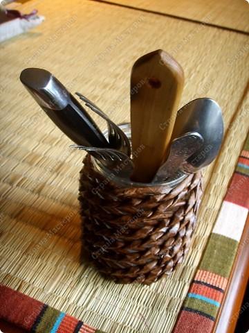 Стакан для вилок и ложек своими руками