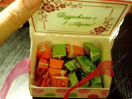 Скрапбукинг, Упаковка,  Ассамбляж, : Подарочная коробочка Бумага 8 марта, День рождения, . Фото 7