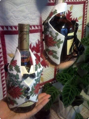Поделка, изделие Вышивка крестом: Небольшая новогодняя шутка:) Нитки Новый год