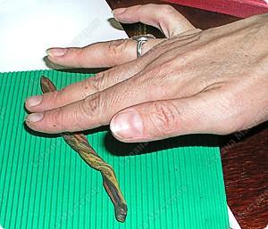 пластилиновую ветку прокатываем по гофрированному картону